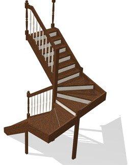 Г-образные деревянные лестницы