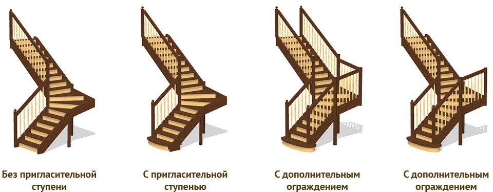 Варианты исполнения Г-образных лестниц